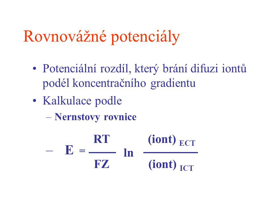 Rovnovážné potenciály Potenciální rozdíl, který brání difuzi iontů podél koncentračního gradientu Kalkulace podle –Nernstovy rovnice – E = RT FZ ln (i