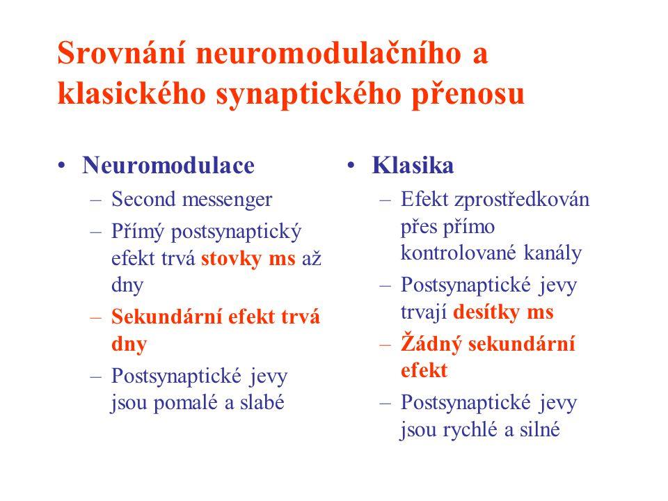 Srovnání neuromodulačního a klasického synaptického přenosu Neuromodulace –Second messenger –Přímý postsynaptický efekt trvá stovky ms až dny –Sekundá