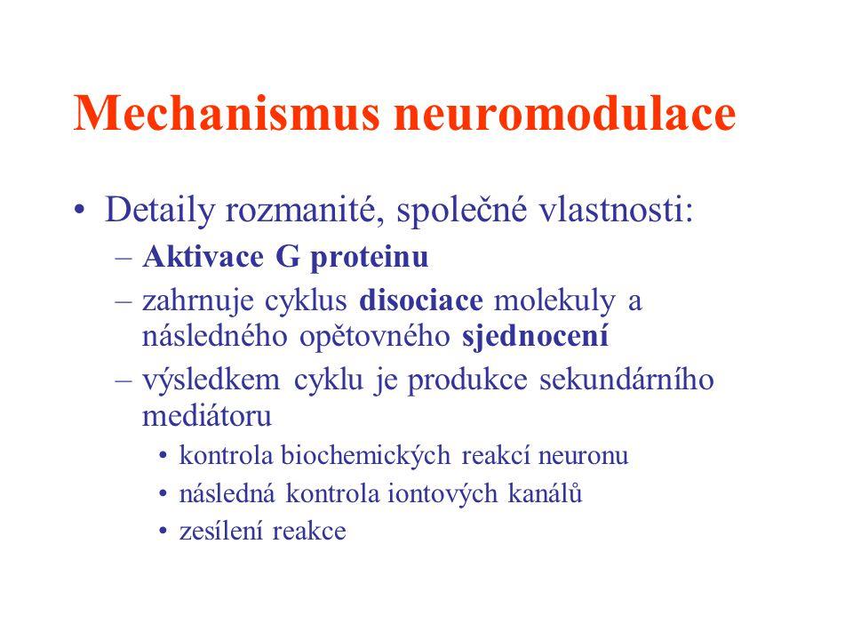 Mechanismus neuromodulace Detaily rozmanité, společné vlastnosti: –Aktivace G proteinu –zahrnuje cyklus disociace molekuly a následného opětovného sje