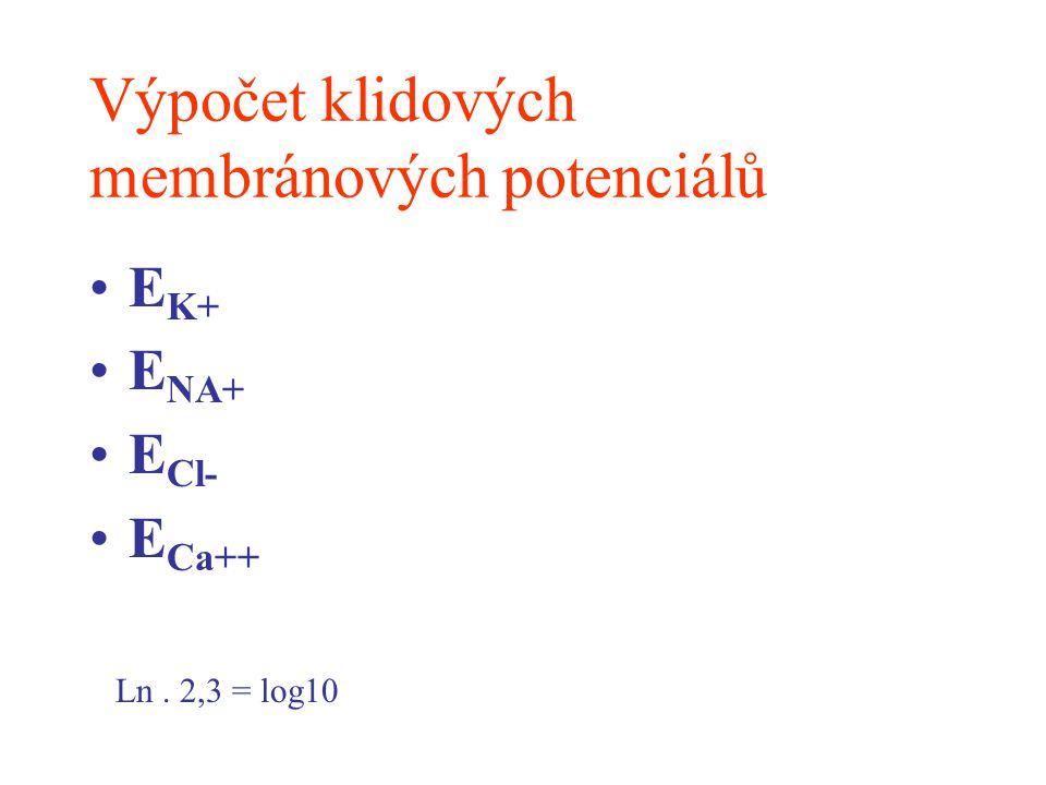 Výpočet membránového potenciálu Neuronální membrána je různě propustná pro různé ionty Tyto ionty přispívají ke vzniku klidového membránového potenciálu podle svých propustností Goldmanova rovnice