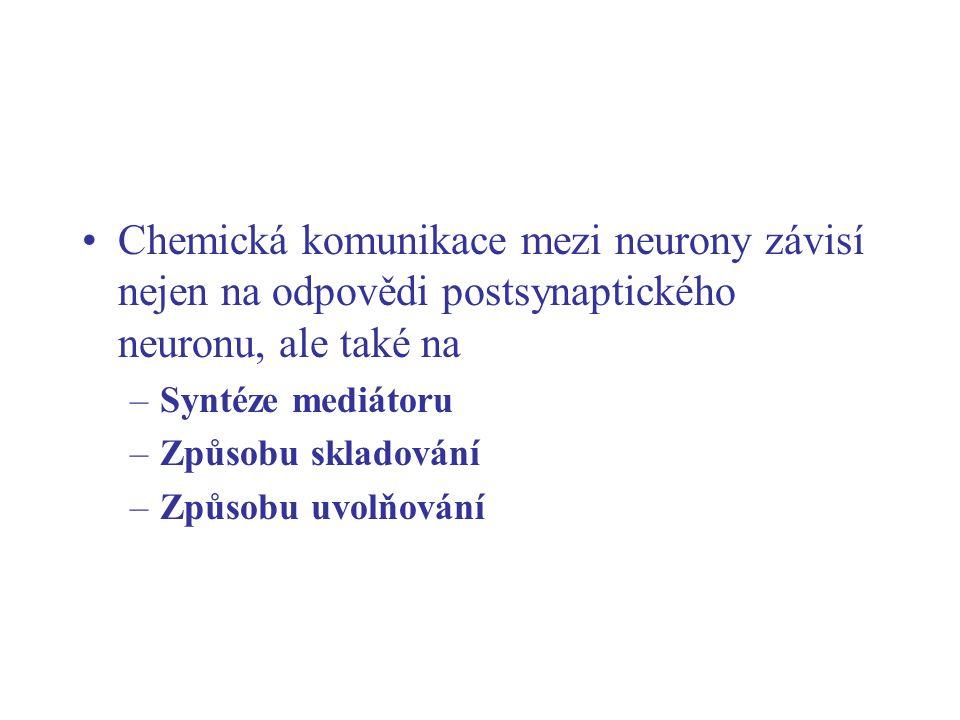 Chemická komunikace mezi neurony závisí nejen na odpovědi postsynaptického neuronu, ale také na –Syntéze mediátoru –Způsobu skladování –Způsobu uvolňo