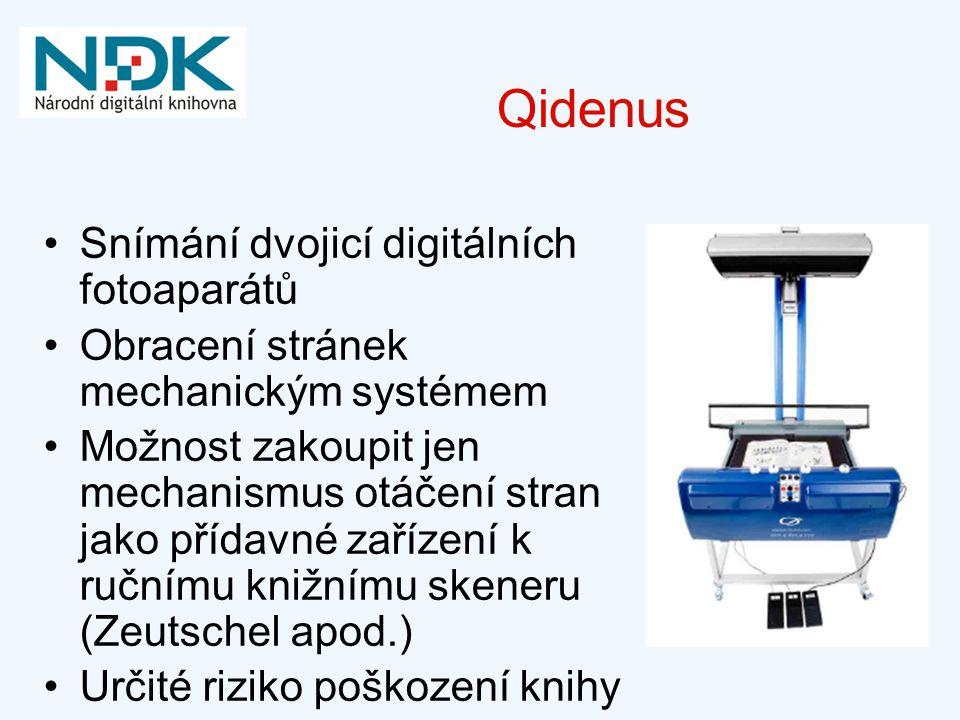 Qidenus Snímání dvojicí digitálních fotoaparátů Obracení stránek mechanickým systémem Možnost zakoupit jen mechanismus otáčení stran jako přídavné zař