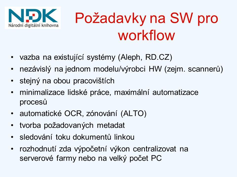 Požadavky na SW pro workflow vazba na existující systémy (Aleph, RD.CZ) nezávislý na jednom modelu/výrobci HW (zejm. scannerů) stejný na obou pracoviš