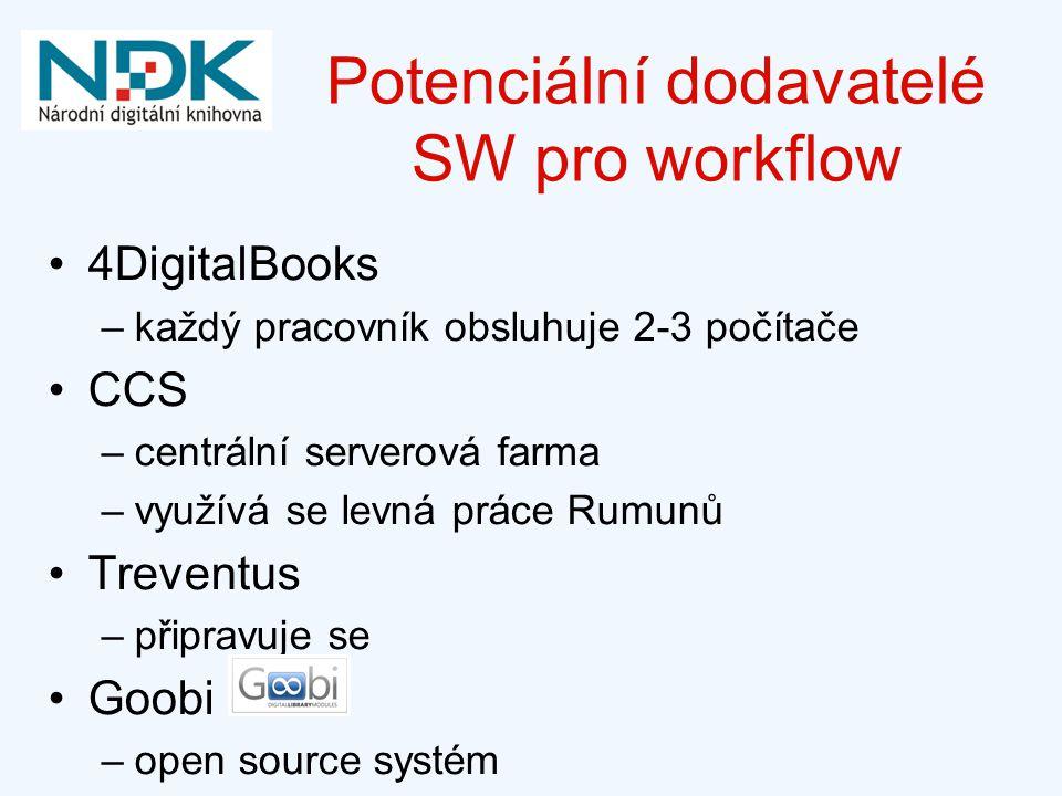 Potenciální dodavatelé SW pro workflow 4DigitalBooks –každý pracovník obsluhuje 2-3 počítače CCS –centrální serverová farma –využívá se levná práce Rumunů Treventus –připravuje se Goobi –open source systém