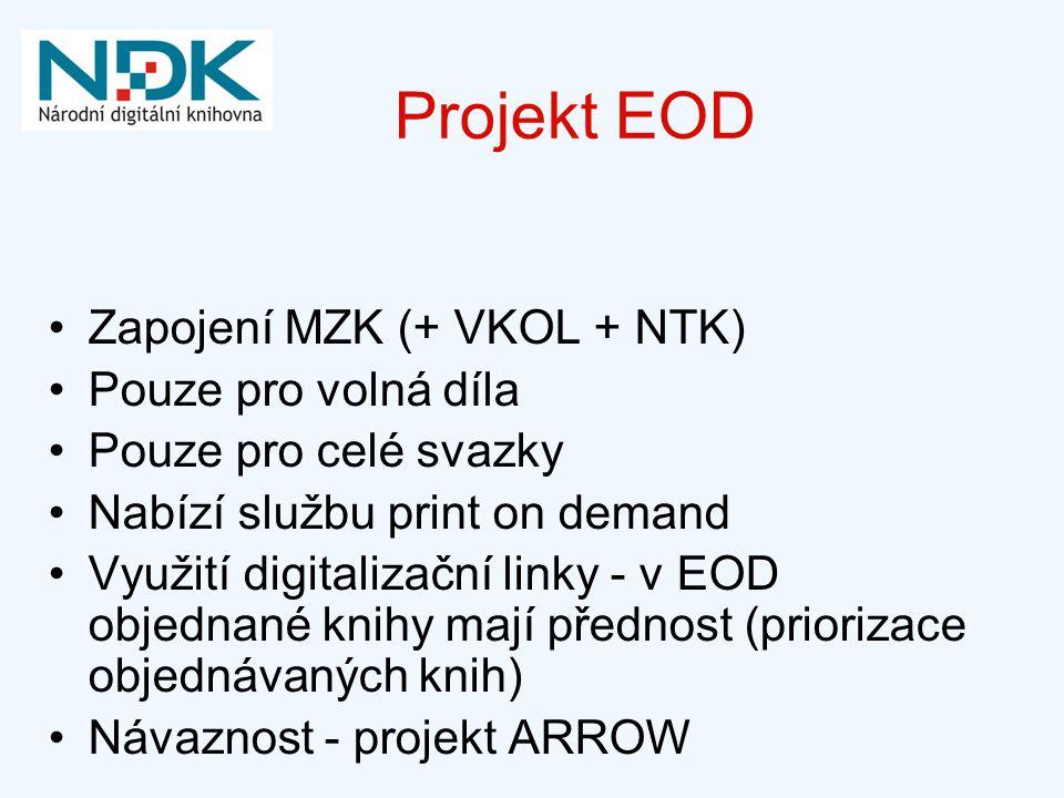 Projekt EOD Zapojení MZK (+ VKOL + NTK) Pouze pro volná díla Pouze pro celé svazky Nabízí službu print on demand Využití digitalizační linky - v EOD o