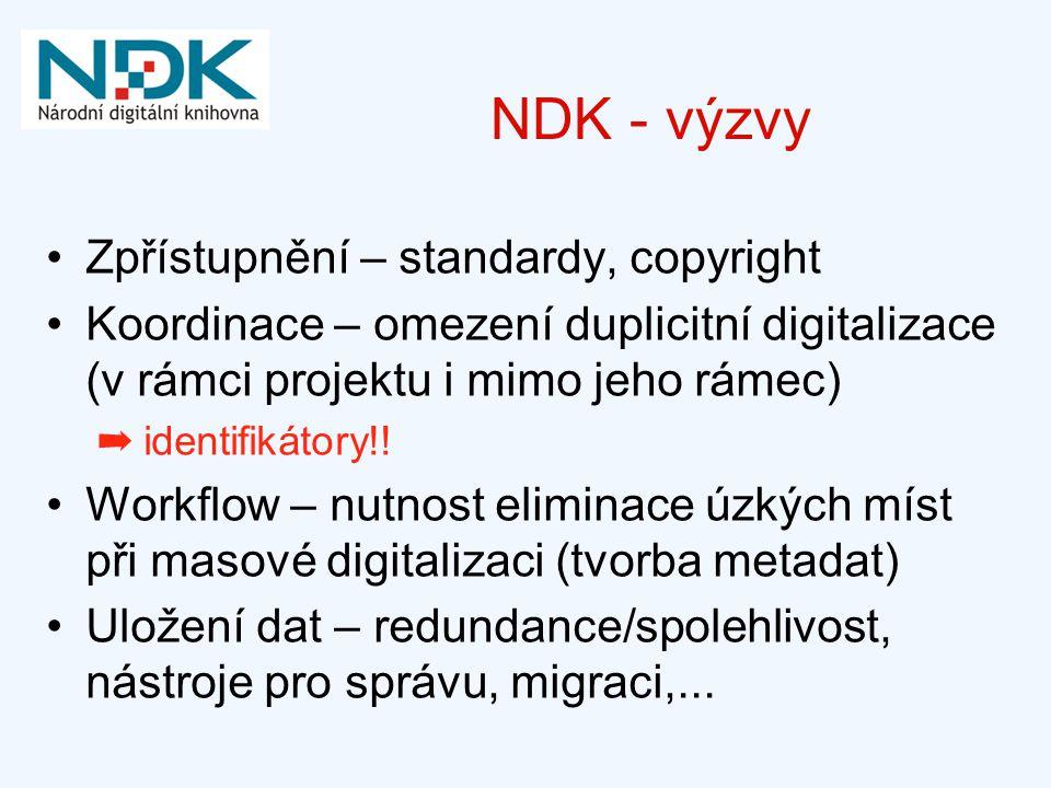 NDK - výzvy Zpřístupnění – standardy, copyright Koordinace – omezení duplicitní digitalizace (v rámci projektu i mimo jeho rámec) ➡ identifikátory!! W