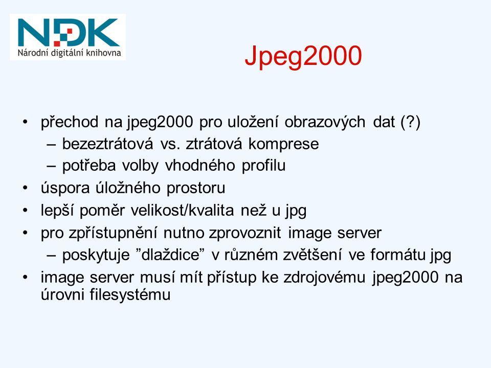 Jpeg2000 přechod na jpeg2000 pro uložení obrazových dat (?) –bezeztrátová vs. ztrátová komprese –potřeba volby vhodného profilu úspora úložného prosto