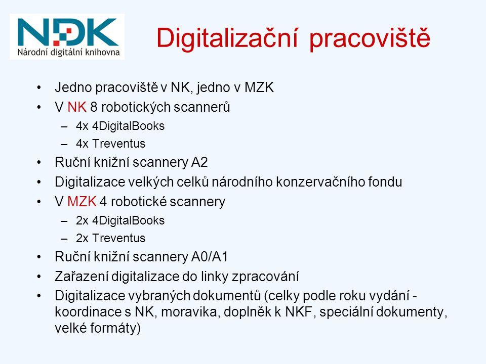 Digitalizační pracoviště Jedno pracoviště v NK, jedno v MZK V NK 8 robotických scannerů –4x 4DigitalBooks –4x Treventus Ruční knižní scannery A2 Digitalizace velkých celků národního konzervačního fondu V MZK 4 robotické scannery –2x 4DigitalBooks –2x Treventus Ruční knižní scannery A0/A1 Zařazení digitalizace do linky zpracování Digitalizace vybraných dokumentů (celky podle roku vydání - koordinace s NK, moravika, doplněk k NKF, speciální dokumenty, velké formáty)
