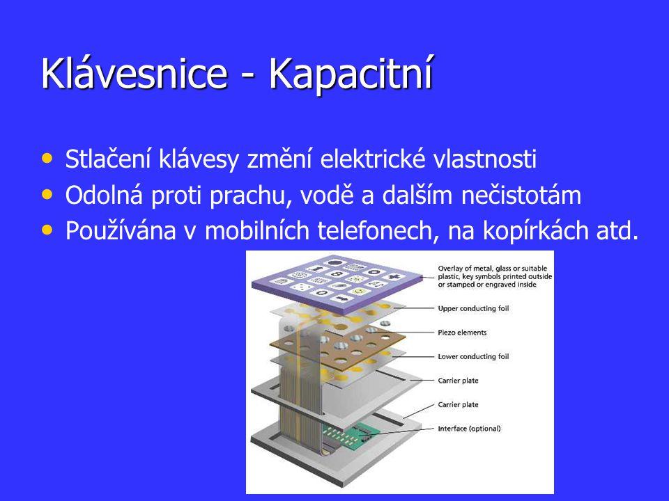 Klávesnice - Kapacitní Stlačení klávesy změní elektrické vlastnosti Odolná proti prachu, vodě a dalším nečistotám Používána v mobilních telefonech, na