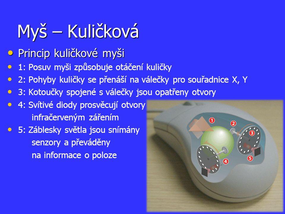 Myš – Kuličková Princip kuličkové myši Princip kuličkové myši 1: Posuv myši způsobuje otáčení kuličky 2: Pohyby kuličky se přenáší na válečky pro souř