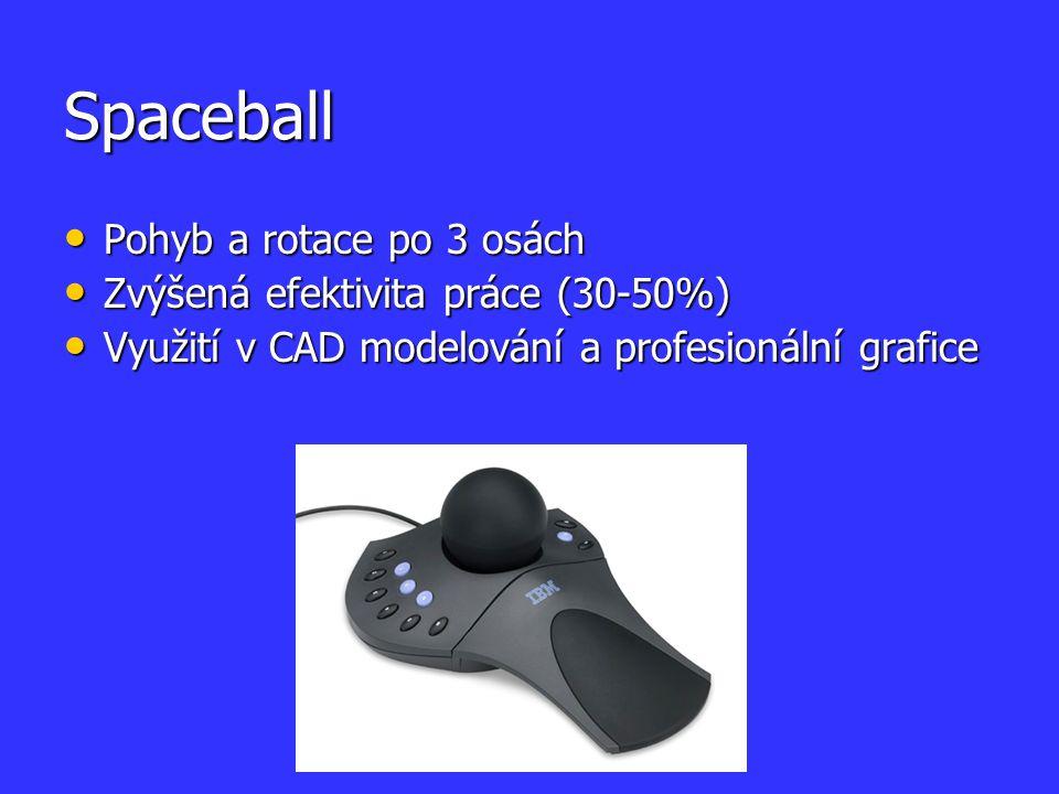 Spaceball Pohyb a rotace po 3 osách Pohyb a rotace po 3 osách Zvýšená efektivita práce (30-50%) Zvýšená efektivita práce (30-50%) Využití v CAD modelo