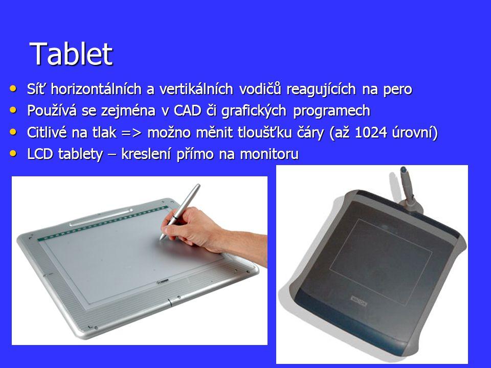 Tablet Síť horizontálních a vertikálních vodičů reagujících na pero Síť horizontálních a vertikálních vodičů reagujících na pero Používá se zejména v