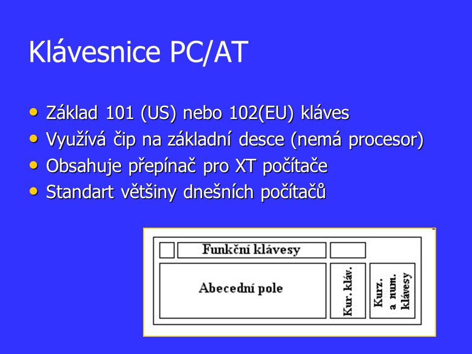 Klávesnice PC/AT Základ 101 (US) nebo 102(EU) kláves Základ 101 (US) nebo 102(EU) kláves Využívá čip na základní desce (nemá procesor) Využívá čip na