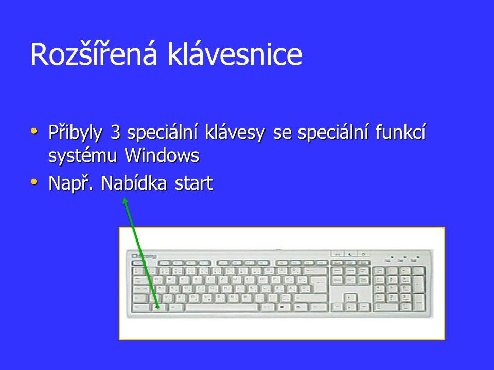 Multimediální klávesnice Rozšíření AT klávesnice o speciální klávesy na ovládání různých přehrávačů, internetu nebo i jiných různých programů Rozšíření AT klávesnice o speciální klávesy na ovládání různých přehrávačů, internetu nebo i jiných různých programů