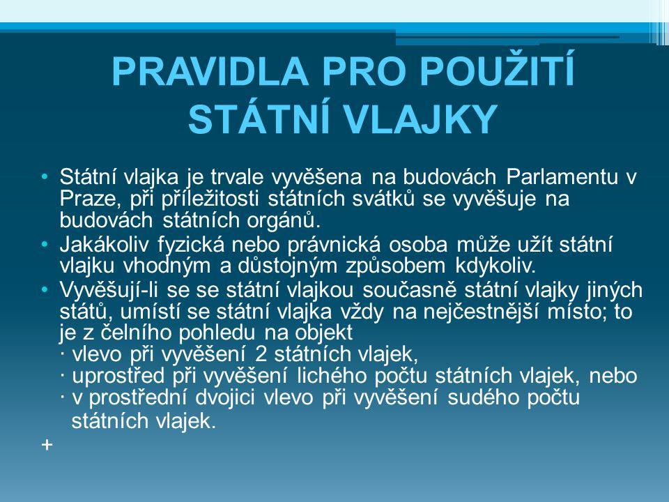 Státní vlajka je trvale vyvěšena na budovách Parlamentu v Praze, při příležitosti státních svátků se vyvěšuje na budovách státních orgánů. Jakákoliv f