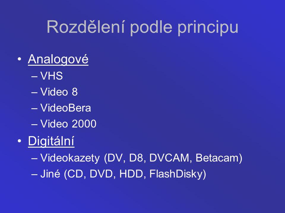 Rozdělení podle principu Analogové –VHS –Video 8 –VideoBera –Video 2000 Digitální –Videokazety (DV, D8, DVCAM, Betacam) –Jiné (CD, DVD, HDD, FlashDisk