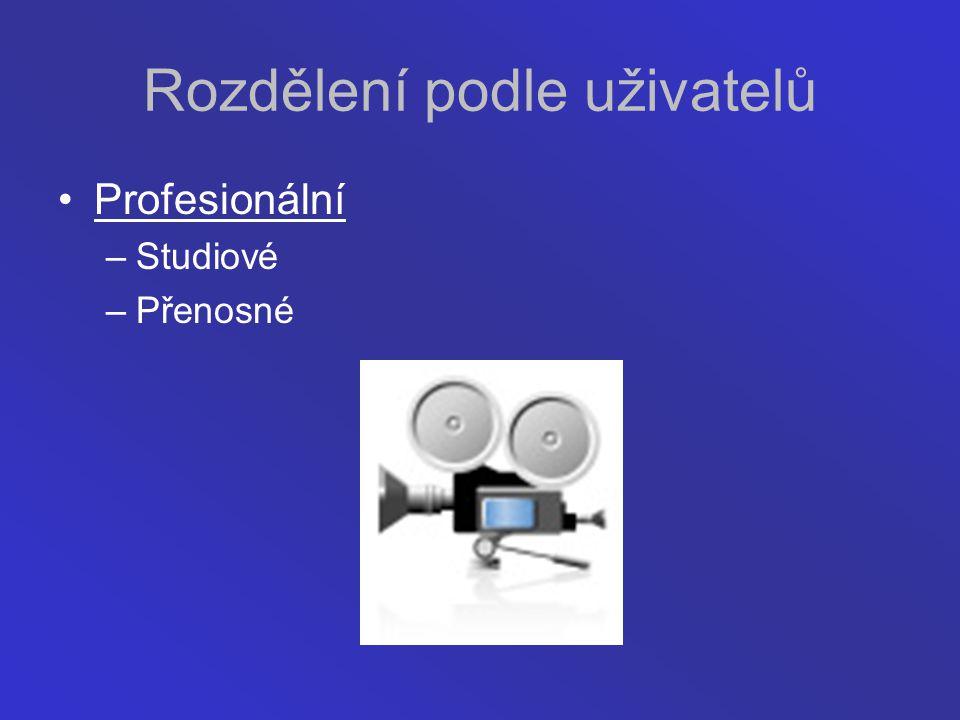 Rozdělení podle uživatelů Profesionální –Studiové –Přenosné