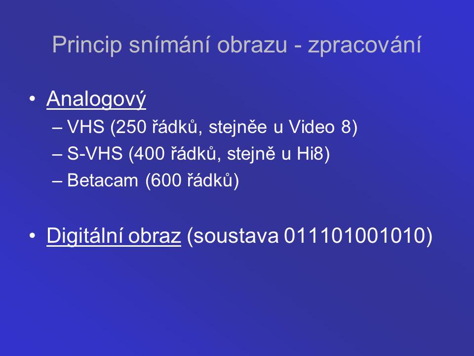 Princip snímání obrazu - zpracování Analogový –VHS (250 řádků, stejněe u Video 8) –S-VHS (400 řádků, stejně u Hi8) –Betacam (600 řádků) Digitální obra