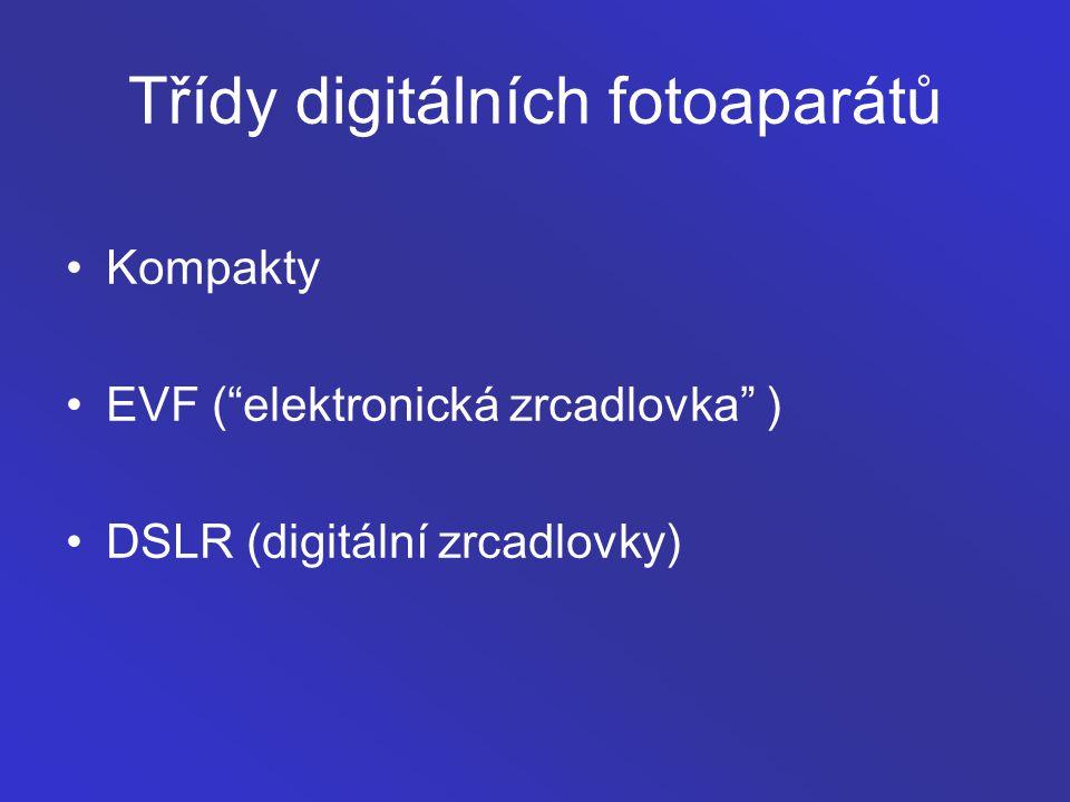 """Třídy digitálních fotoaparátů Kompakty EVF (""""elektronická zrcadlovka"""" ) DSLR (digitální zrcadlovky)"""