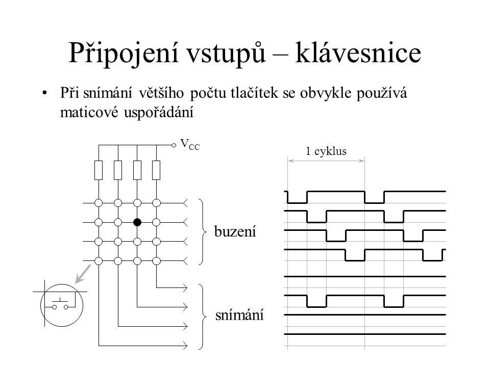 Klávesnice – vícenásobné stisky Maticové uspořádání spolehlivě vyhodnocuje stisk až dvou libovolných kláves Při stisku tří kláves může dojít k falešné detekci čtvrtého stisku Falešná detekce
