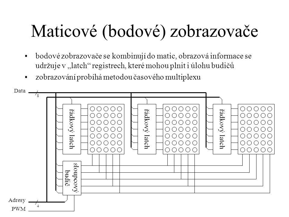 """Maticové (bodové) zobrazovače bodové zobrazovače se kombinují do matic, obrazová informace se udržuje v """"latch"""" registrech, které mohou plnit i úlohu"""