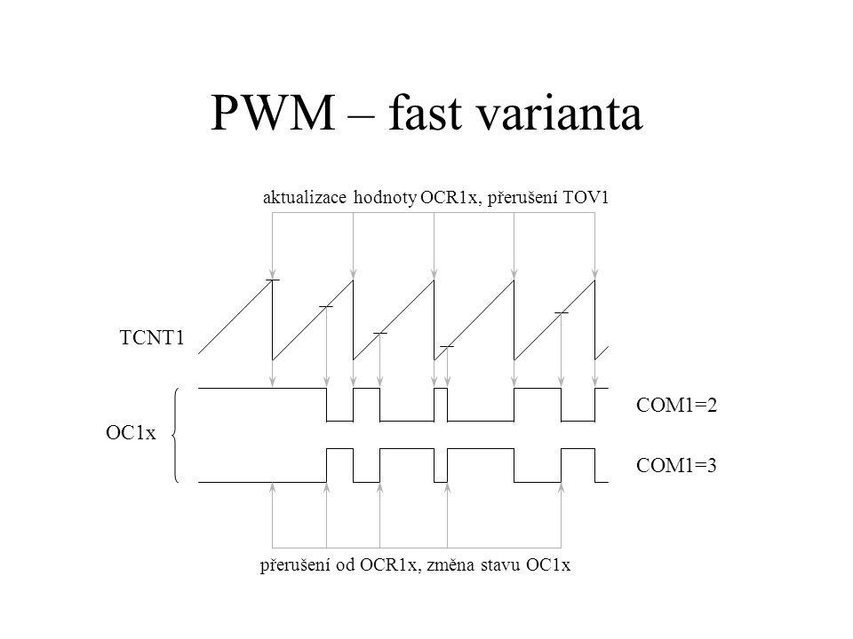 PWM – fast varianta TCNT1 OC1x COM1=2 COM1=3 aktualizace hodnoty OCR1x, přerušení TOV1 přerušení od OCR1x, změna stavu OC1x