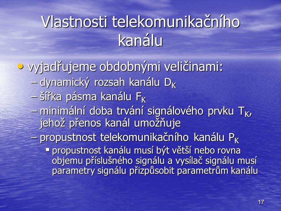 17 Vlastnosti telekomunikačního kanálu vyjadřujeme obdobnými veličinami: vyjadřujeme obdobnými veličinami: –dynamický rozsah kanálu D K –šířka pásma k