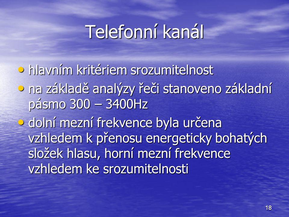 18 Telefonní kanál hlavním kritériem srozumitelnost hlavním kritériem srozumitelnost na základě analýzy řeči stanoveno základní pásmo 300 – 3400Hz na