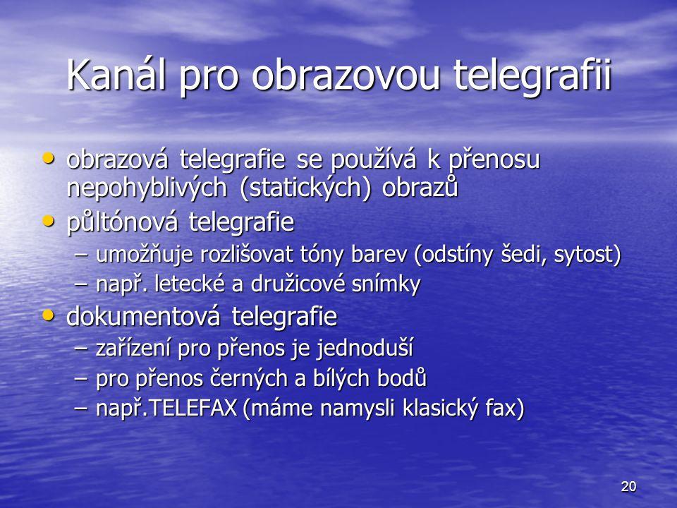 20 Kanál pro obrazovou telegrafii obrazová telegrafie se používá k přenosu nepohyblivých (statických) obrazů obrazová telegrafie se používá k přenosu