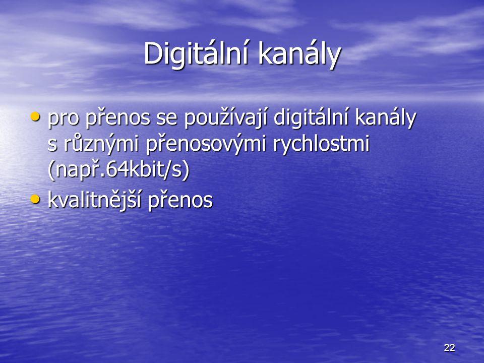 22 Digitální kanály pro přenos se používají digitální kanály s různými přenosovými rychlostmi (např.64kbit/s) pro přenos se používají digitální kanály