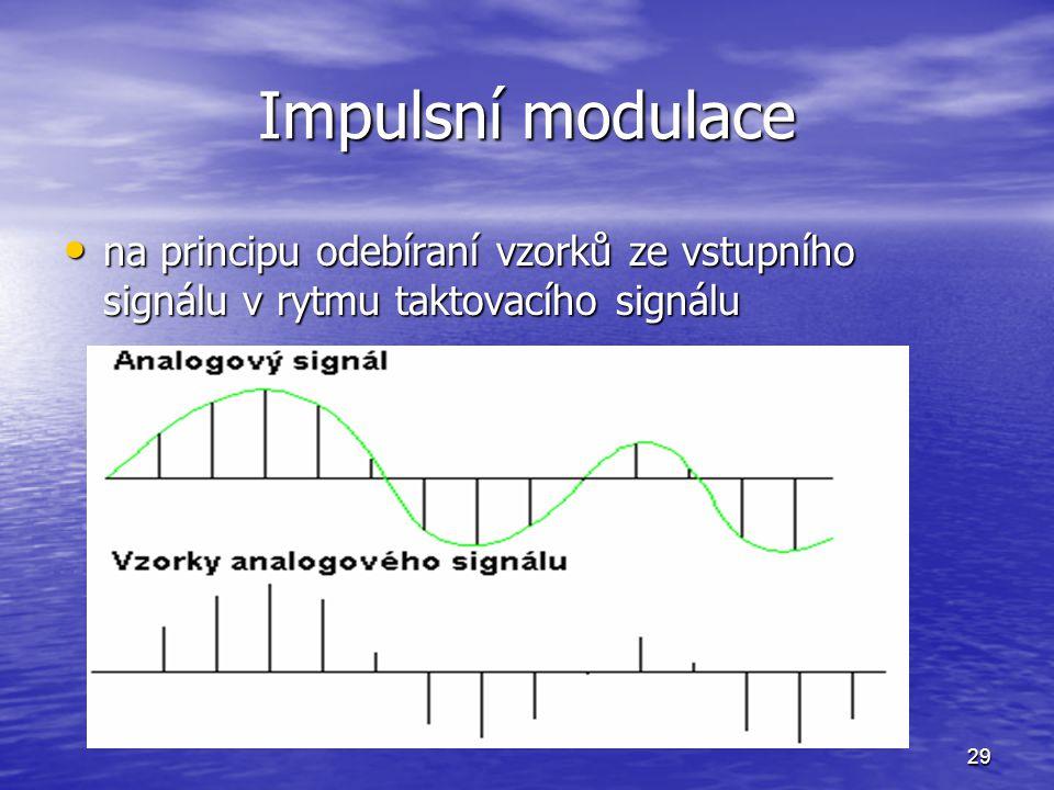 29 Impulsní modulace na principu odebíraní vzorků ze vstupního signálu v rytmu taktovacího signálu na principu odebíraní vzorků ze vstupního signálu v
