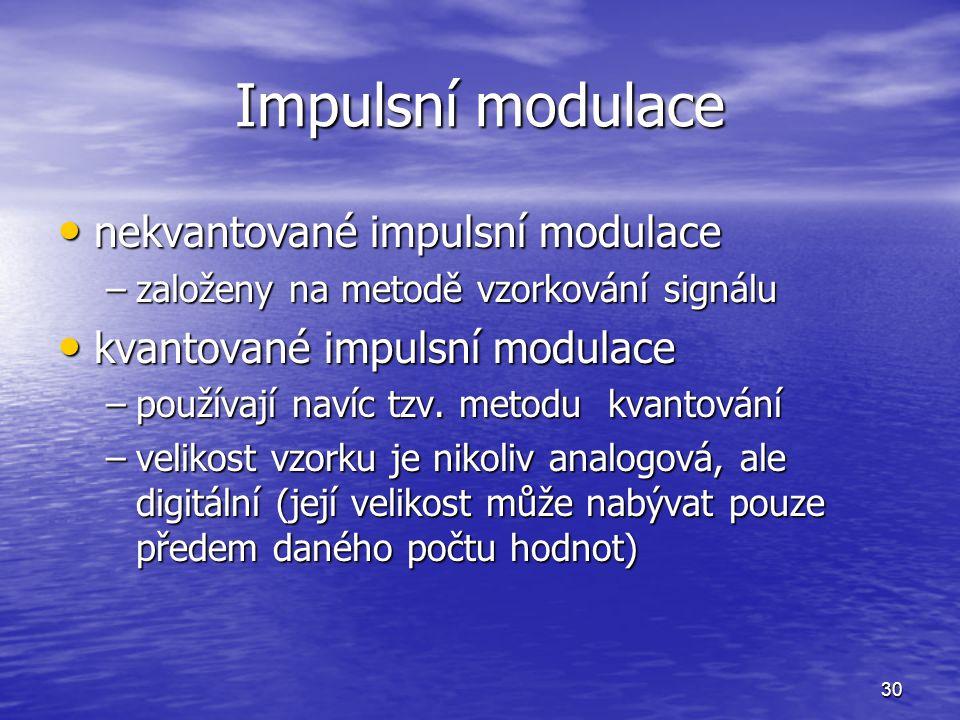 30 Impulsní modulace nekvantované impulsní modulace nekvantované impulsní modulace –založeny na metodě vzorkování signálu kvantované impulsní modulace