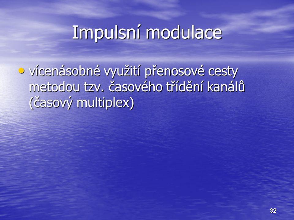 32 Impulsní modulace vícenásobné využití přenosové cesty metodou tzv. časového třídění kanálů (časový multiplex) vícenásobné využití přenosové cesty m