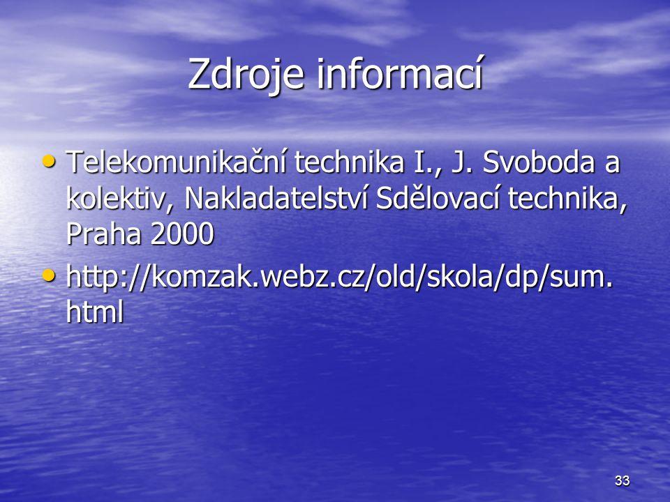 33 Zdroje informací Telekomunikační technika I., J. Svoboda a kolektiv, Nakladatelství Sdělovací technika, Praha 2000 Telekomunikační technika I., J.