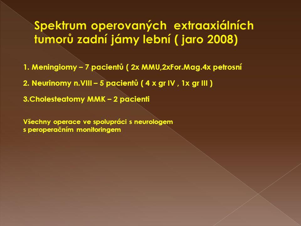 1. Meningiomy – 7 pacientů ( 2x MMU,2xFor.Mag.4x petrosní 2. Neurinomy n.VIII – 5 pacientů ( 4 x gr IV, 1x gr III ) 3.Cholesteatomy MMK – 2 pacienti V