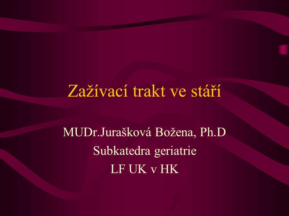 Zažívací trakt ve stáří MUDr.Jurašková Božena, Ph.D Subkatedra geriatrie LF UK v HK