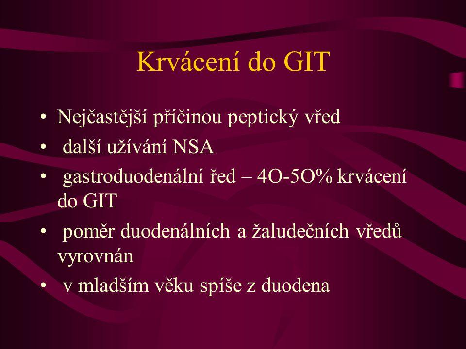 Krvácení do GIT Nejčastější příčinou peptický vřed další užívání NSA gastroduodenální řed – 4O-5O% krvácení do GIT poměr duodenálních a žaludečních vředů vyrovnán v mladším věku spíše z duodena