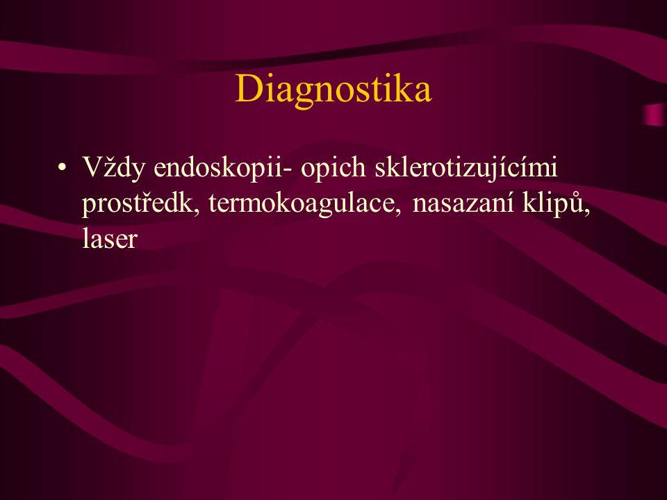 Diagnostika Vždy endoskopii- opich sklerotizujícími prostředk, termokoagulace, nasazaní klipů, laser