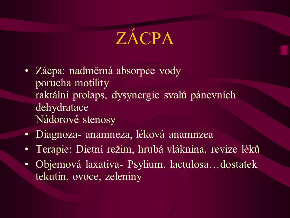 Průjem a inkontinence Infekční etiologie Vliv farmak, thyreotoxikoza DM systémová skleroza Mezenteriální ischemie maligní lymfom Divertikulosa a divertikulitida kolorektální karcinom