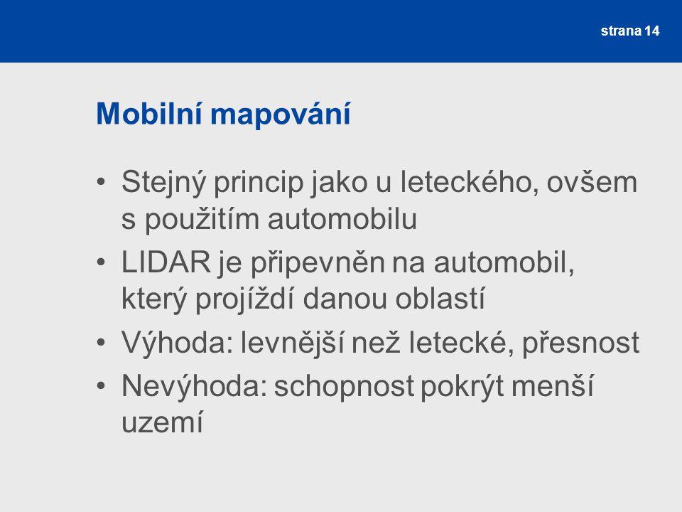 Mobilní mapování Stejný princip jako u leteckého, ovšem s použitím automobilu LIDAR je připevněn na automobil, který projíždí danou oblastí Výhoda: le