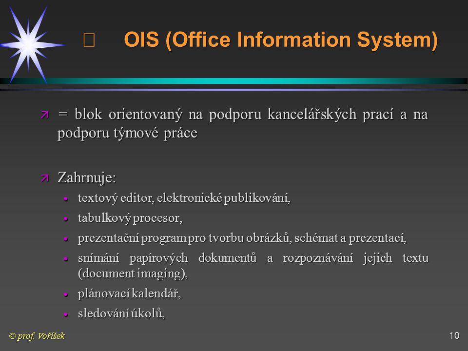 © prof. Voříšek10  OIS (Office Information System) ä = blok orientovaný na podporu kancelářských prací a na podporu týmové práce ä Zahrnuje:  textov