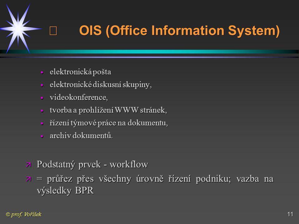 © prof. Voříšek11  OIS (Office Information System)  elektronická pošta  elektronické diskusní skupiny,  videokonference,  tvorba a prohlížení WWW