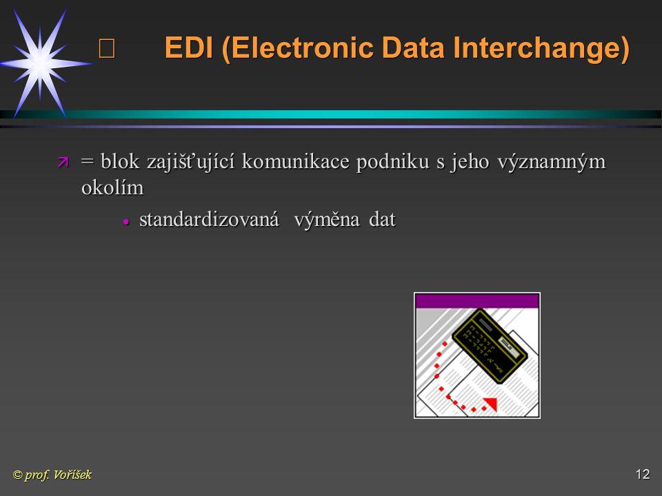© prof. Voříšek12   EDI (Electronic Data Interchange) ä = blok zajišťující komunikace podniku s jeho významným okolím  standardizovaná výměna dat