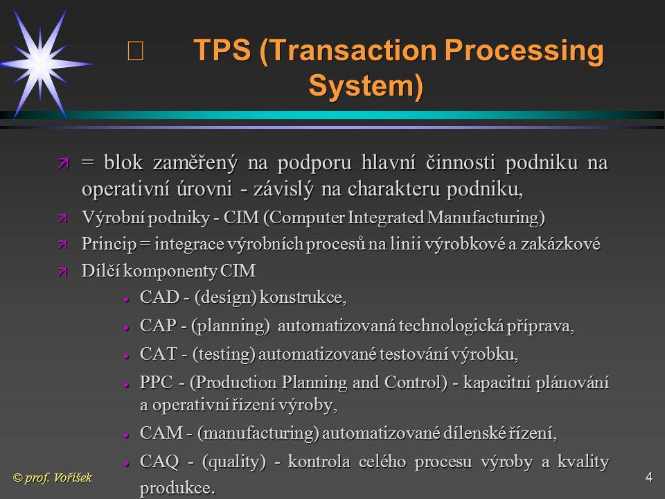 © prof. Voříšek4  TPS (Transaction Processing System) ä = blok zaměřený na podporu hlavní činnosti podniku na operativní úrovni - závislý na charakte