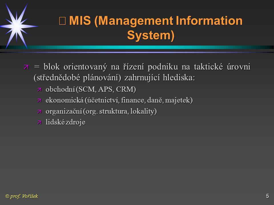 © prof. Voříšek5  MIS (Management Information System) ä = blok orientovaný na řízení podniku na taktické úrovni (střednědobé plánování) zahrnující h