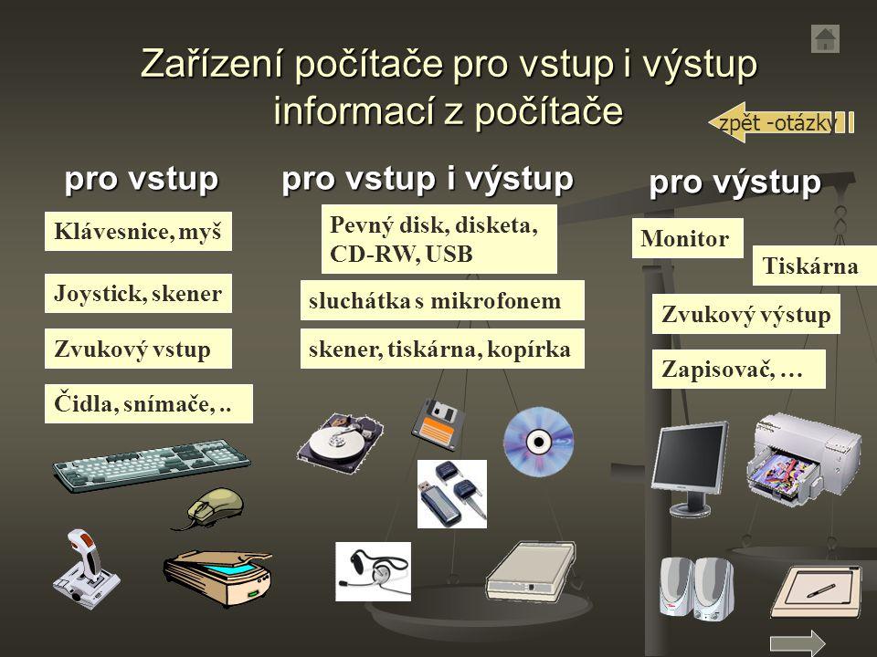 pro vstup Zvukový vstup Klávesnice, myš Joystick, skener Čidla, snímače,..