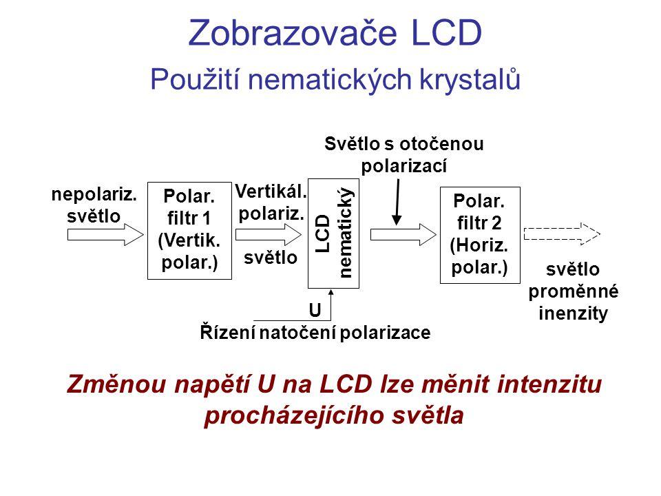 Zobrazovače LCD Použití nematických krystalů Polar. filtr 1 (Vertik. polar.) Polar. filtr 2 (Horiz. polar.) Vertikál. polariz. světlo světlo proměnné