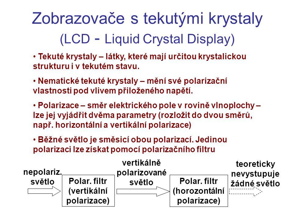 Zobrazovače s tekutými krystaly (LCD - Liquid Crystal Display) Tekuté krystaly – látky, které mají určitou krystalickou strukturu i v tekutém stavu. N
