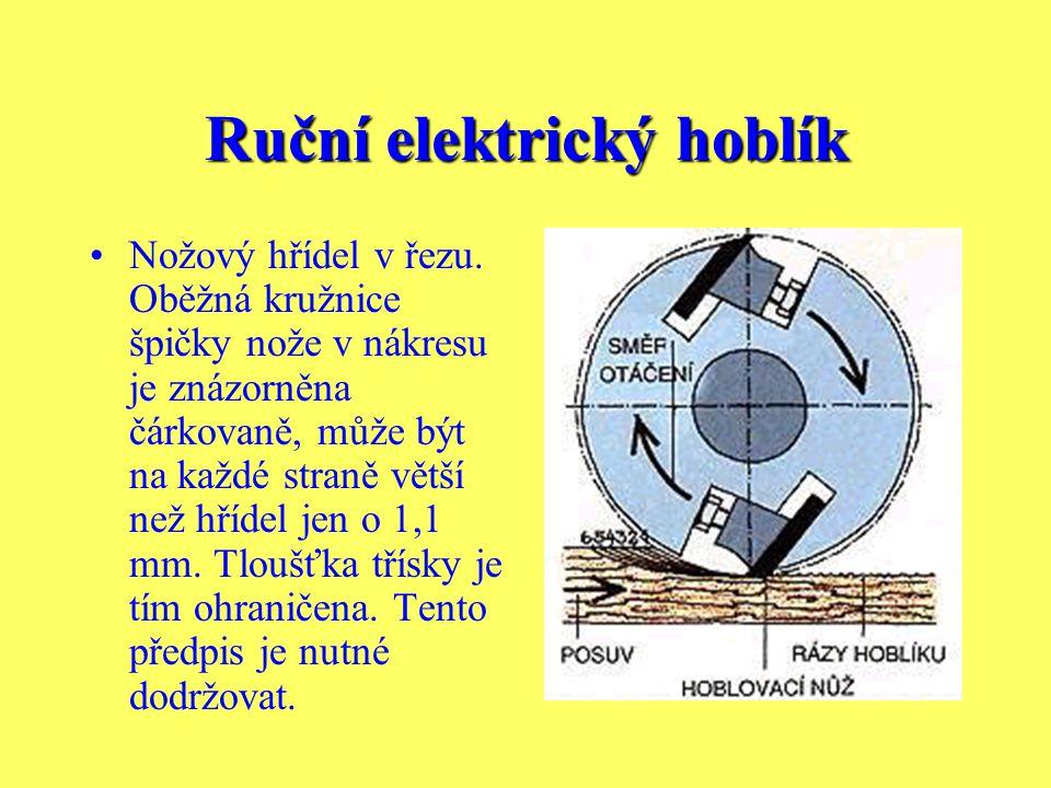 Ruční elektrický hoblík Hoblíkem lze rovněž opracovávat i jiné látky než dřevo. Vyžaduje to však použití speciálních nožů. Malé tloušťky třísky a nepa