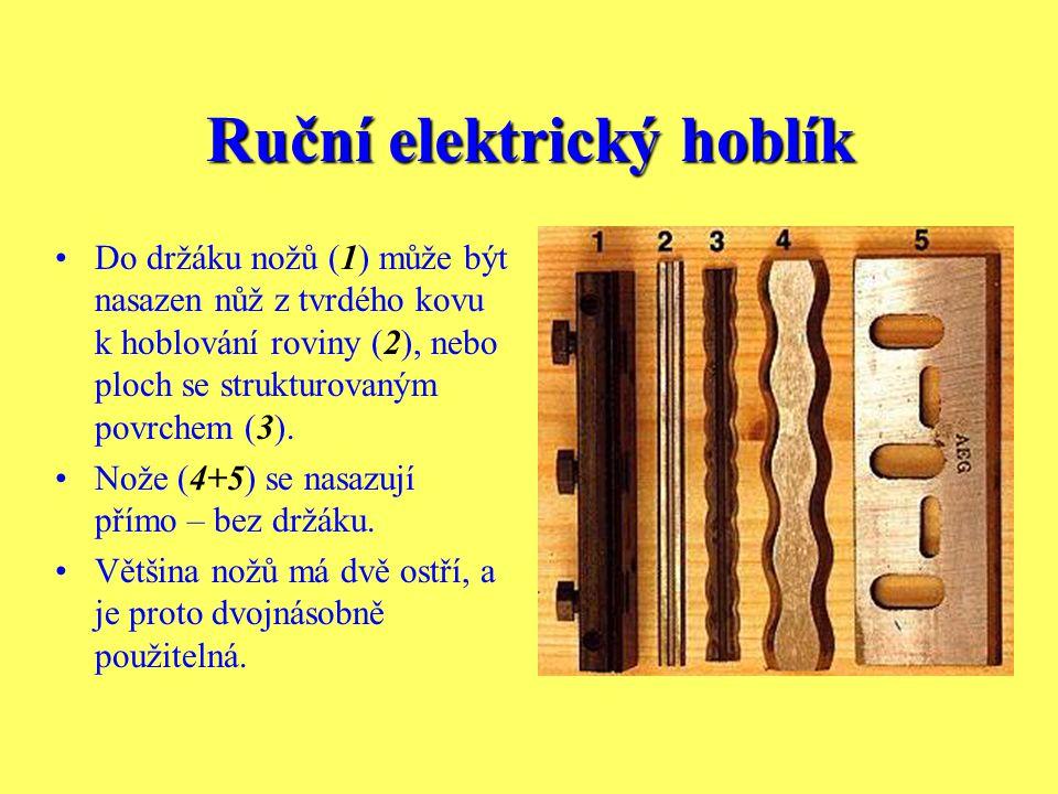 Ruční elektrický hoblík Nožový hřídel v řezu. Oběžná kružnice špičky nože v nákresu je znázorněna čárkovaně, může být na každé straně větší než hřídel